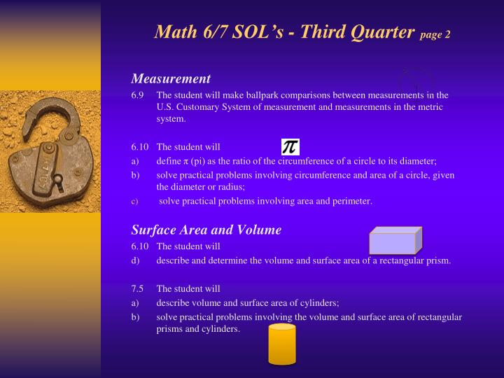Math 6/7 SOL's - Third Quarter