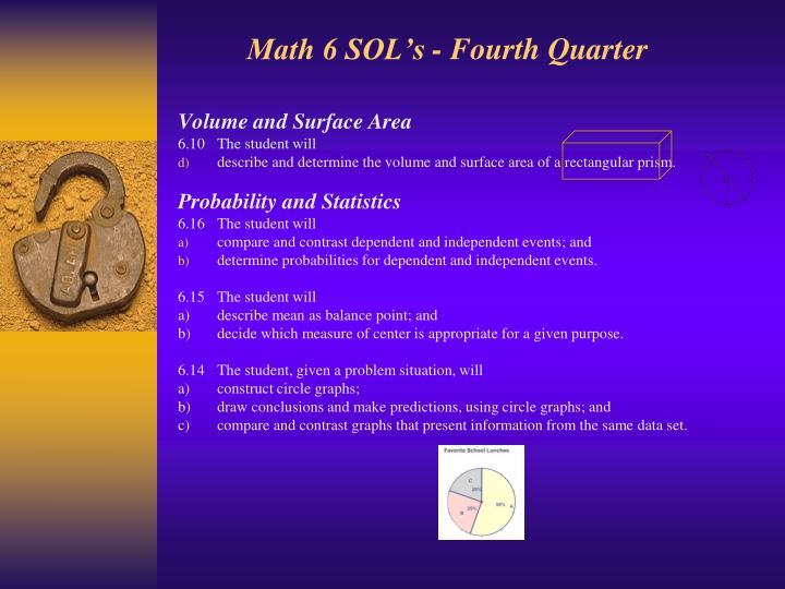 Math 6 SOL's - Fourth Quarter