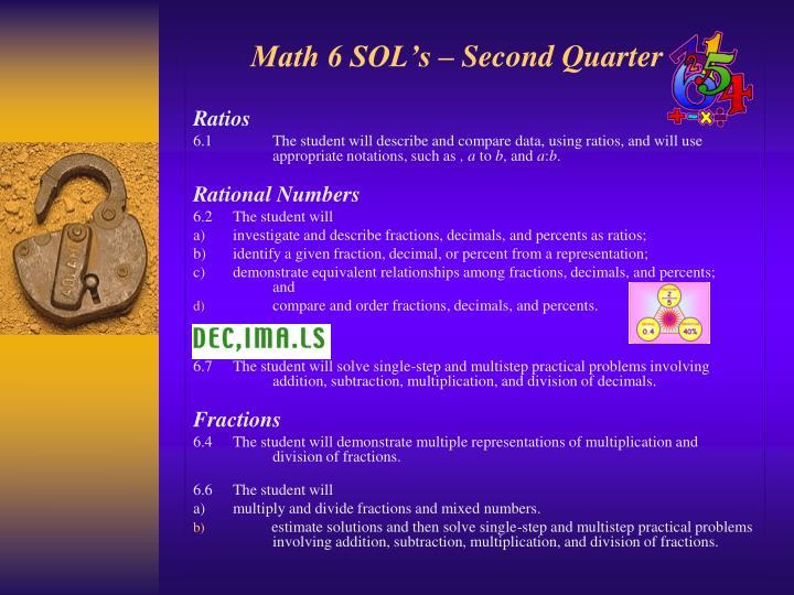 Math 6 SOL's – Second Quarter