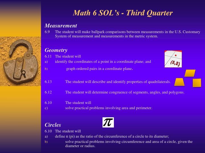 Math 6 SOL's - Third Quarter