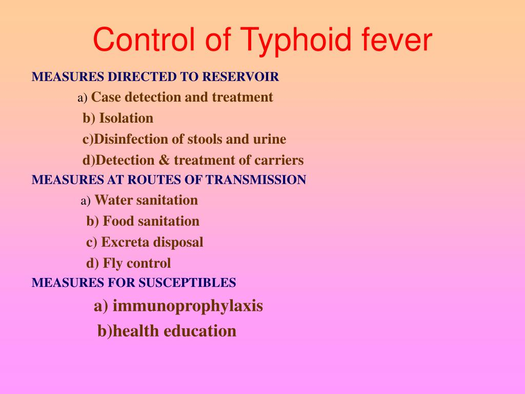 Control of Typhoid fever