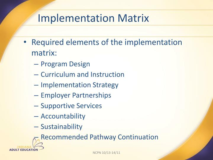 Implementation Matrix