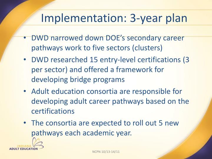 Implementation: 3-year plan
