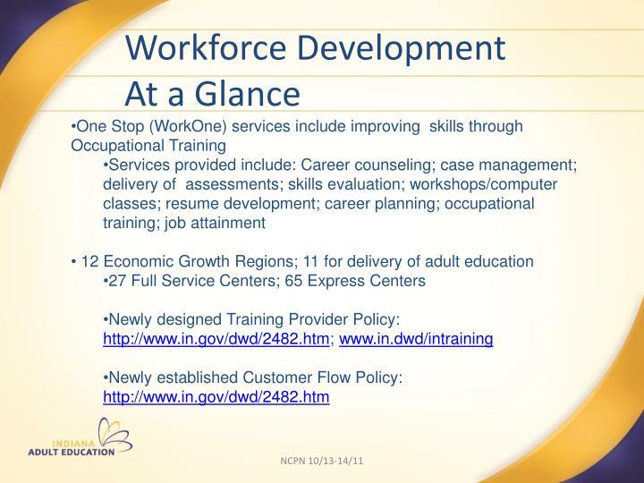 Workforce Development            At a Glance