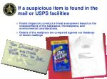 if a suspicious item is found in the mail or usps facilities