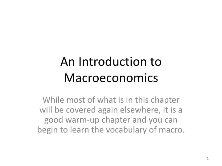 an introduction to macroeconomics
