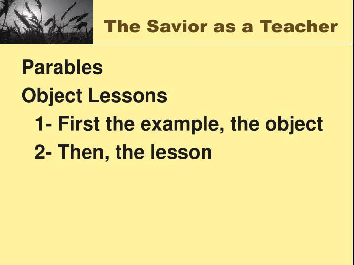 The Savior as a Teacher