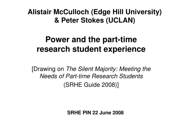 alistair mcculloch edge hill university peter stokes uclan n.