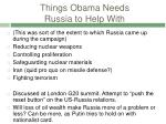 things obama needs russia to help with