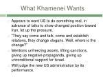 what khamenei wants
