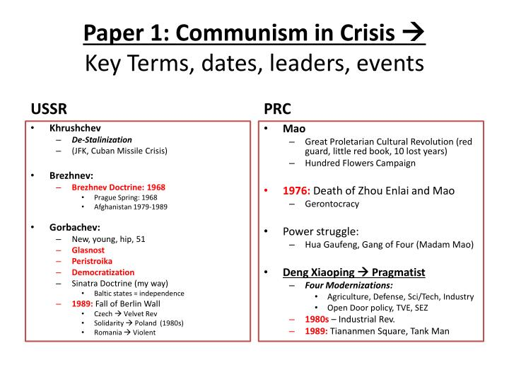 paper 1 communism in crisis key terms dates leaders events n.
