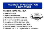 accident investigation is important