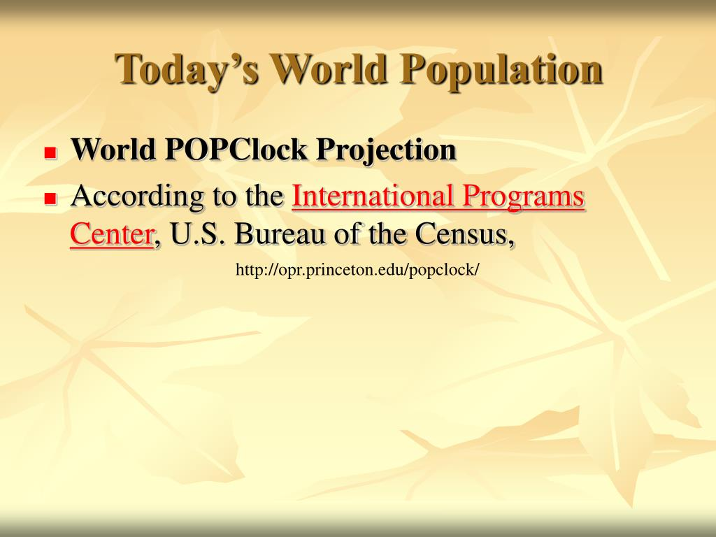 Today's World Population