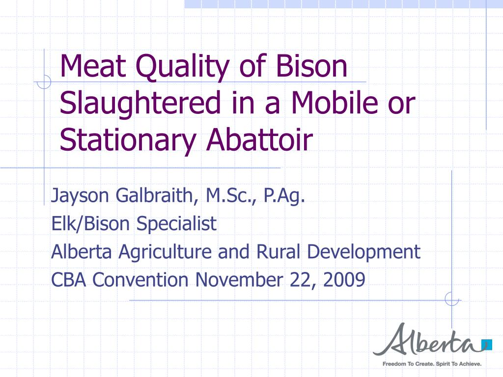 meat quality of bison slaughtered in a mobile or stationary abattoir l.