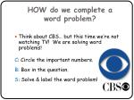 how do we complete a word problem
