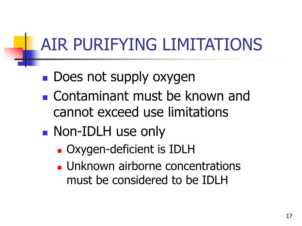 AIR PURIFYING LIMITATIONS