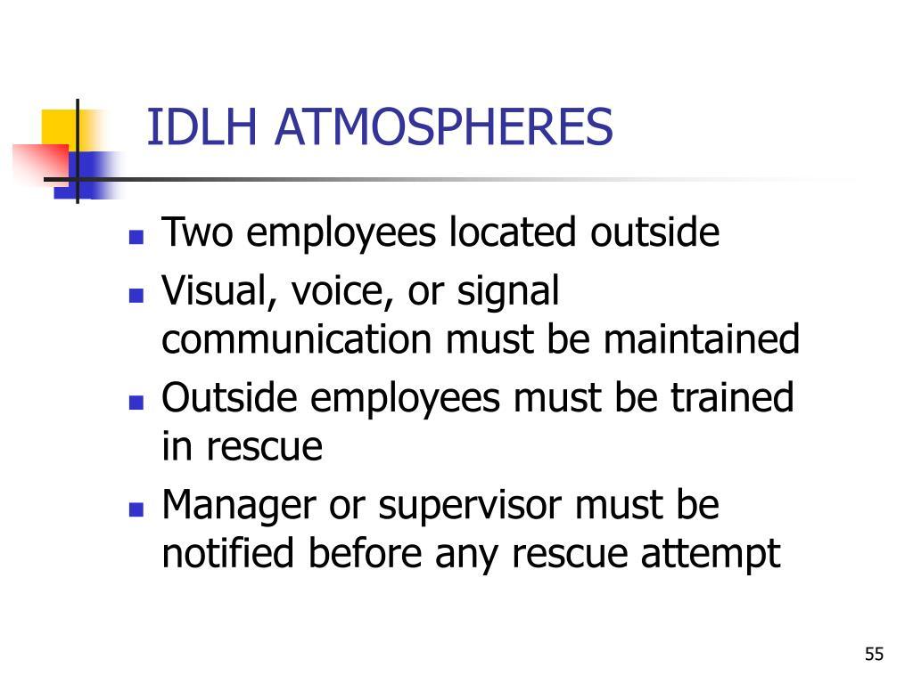 IDLH ATMOSPHERES