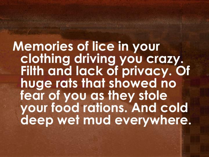 Memories of lice in your clothing driving you crazy. Filth and lack of privacy. Of huge rats that showed no fear of you as they stole your food rations. And cold deep wet mud everywhere.