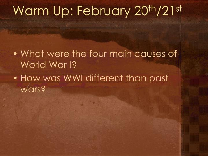 Warm up february 20 th 21 st