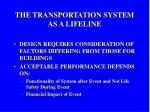 the transportation system as a lifeline