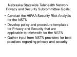 nebraska statewide telehealth network privacy and security subcommittee goals