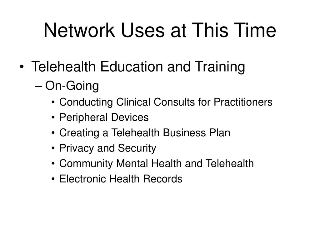 Network Uses at This Time