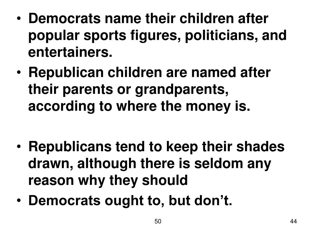 Democrats name their children after popular sports figures, politicians, and entertainers.