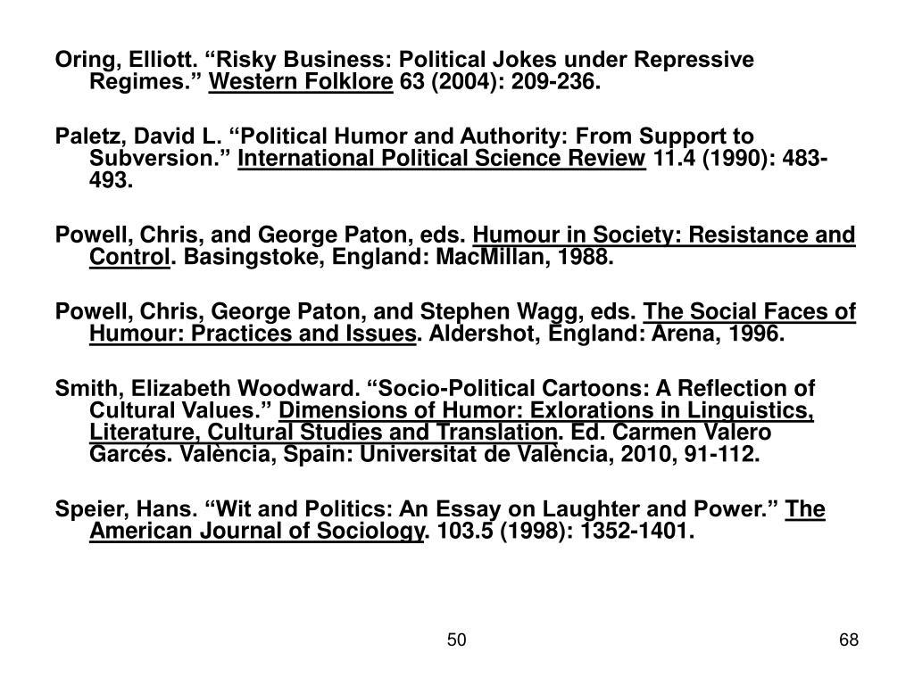 "Oring, Elliott. ""Risky Business: Political Jokes under Repressive Regimes."""