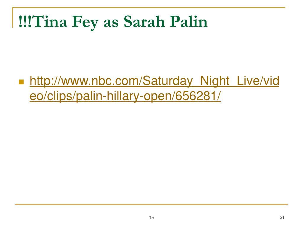 !!!Tina Fey as Sarah Palin