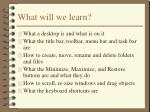 what will we learn