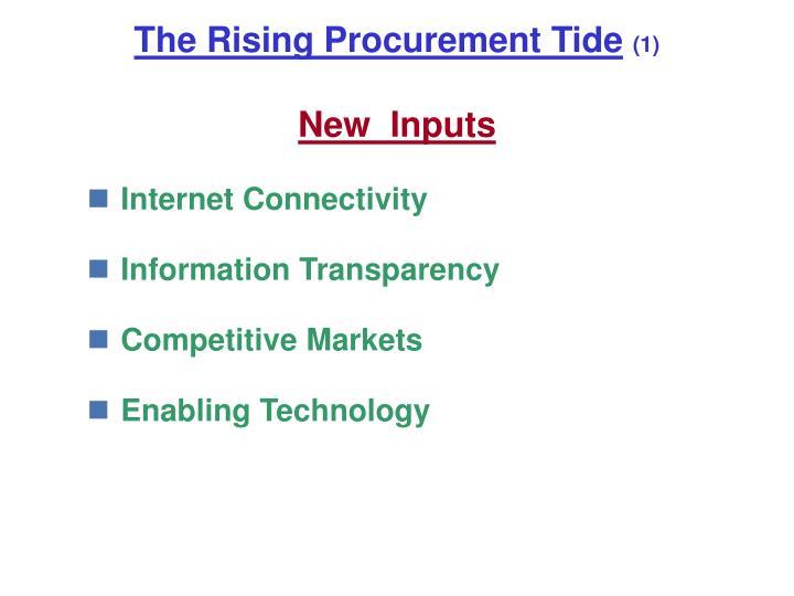 The rising procurement tide 1 new inputs