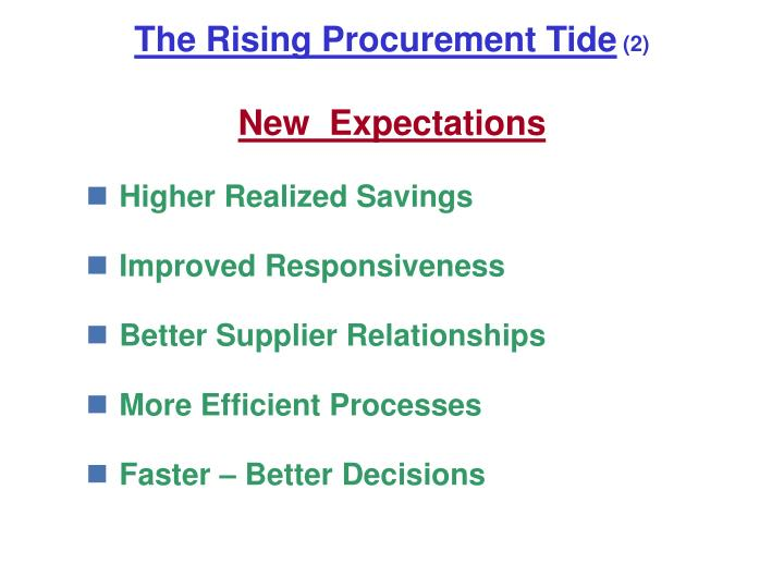 The rising procurement tide 2 new expectations