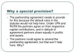 why a special provision
