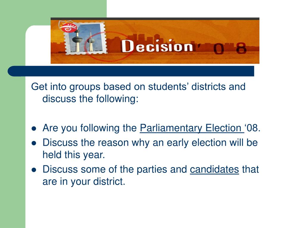 Get into groups based on students' districts and discuss the following: