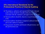 iia s international standards for the professional practice of internal auditing