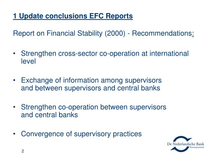 1 update conclusions efc reports report on financial stability 2000 recommendations