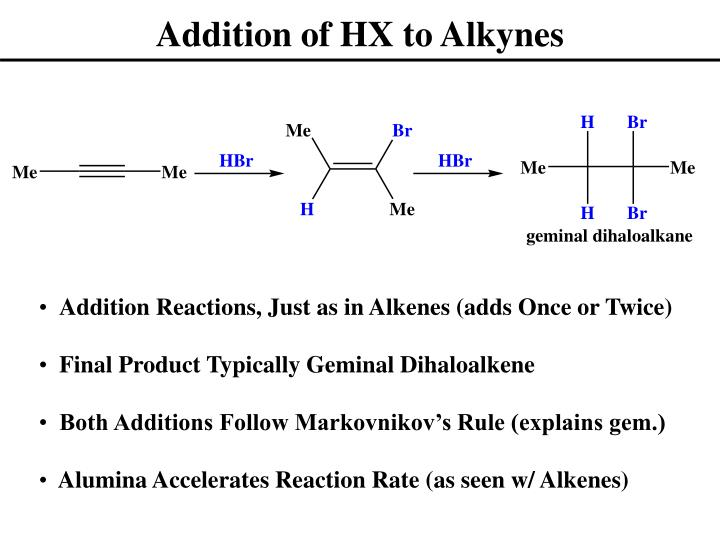 Addition of HX to Alkynes