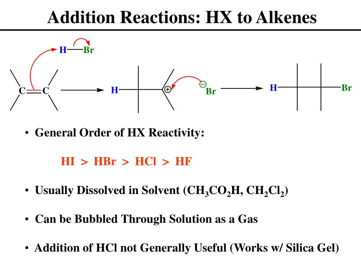Addition Reactions: HX to Alkenes