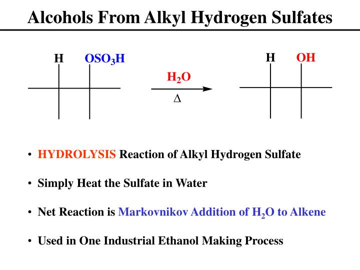Alcohols From Alkyl Hydrogen Sulfates