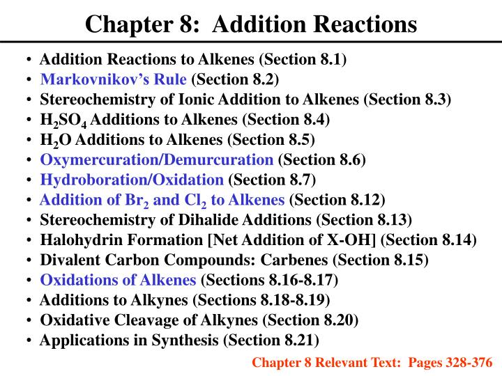 Chapter 8 addition reactions