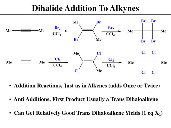 Dihalide Addition To Alkynes