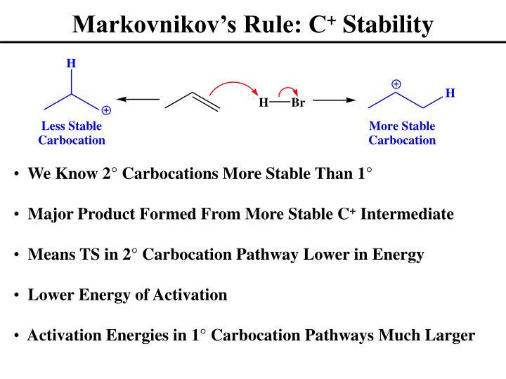 Markovnikov's Rule: C