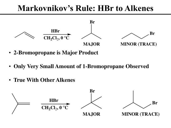 Markovnikov's Rule: HBr to Alkenes
