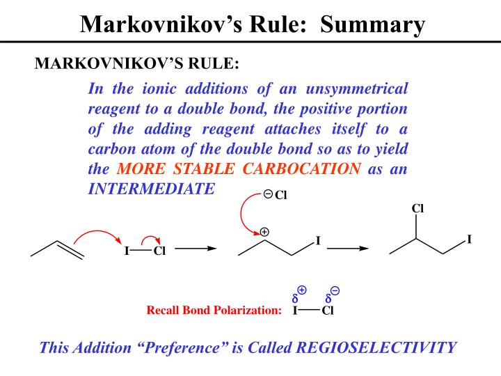 Markovnikov's Rule:  Summary