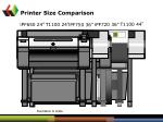 printer size comparison