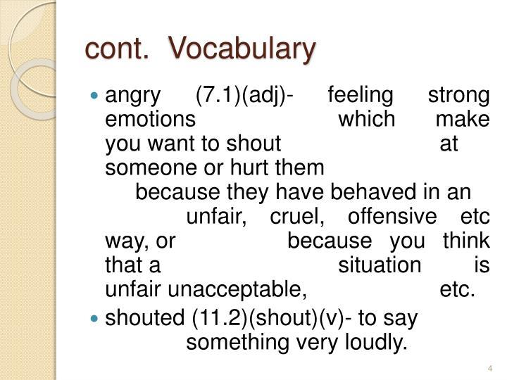 cont.  Vocabulary