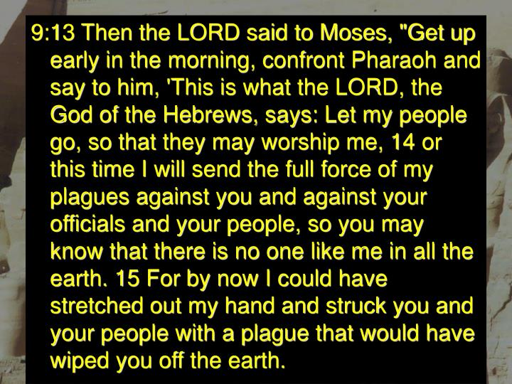 """9:13 Then the LORD said to Moses, """"Get up early in the morning, confront Pharaoh and say to him, 'This is what the LORD, the God of the Hebrews, says: Let my people go, so that they may worship me, 14 or this time I will send the full force of my plagues against you and against your officials and your people, so you may know that there is no one like me in all the earth. 15 For by now I could have stretched out my hand and struck you and your people with a plague that would have wiped you off the earth."""