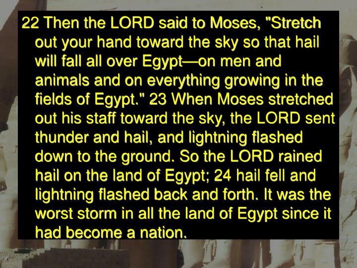 """22 Then the LORD said to Moses, """"Stretch out your hand toward the sky so that hail will fall all over Egypt—on men and animals and on everything growing in the fields of Egypt."""" 23 When Moses stretched out his staff toward the sky, the LORD sent thunder and hail, and lightning flashed down to the ground. So the LORD rained hail on the land of Egypt; 24 hail fell and lightning flashed back and forth. It was the worst storm in all the land of Egypt since it had become a nation."""