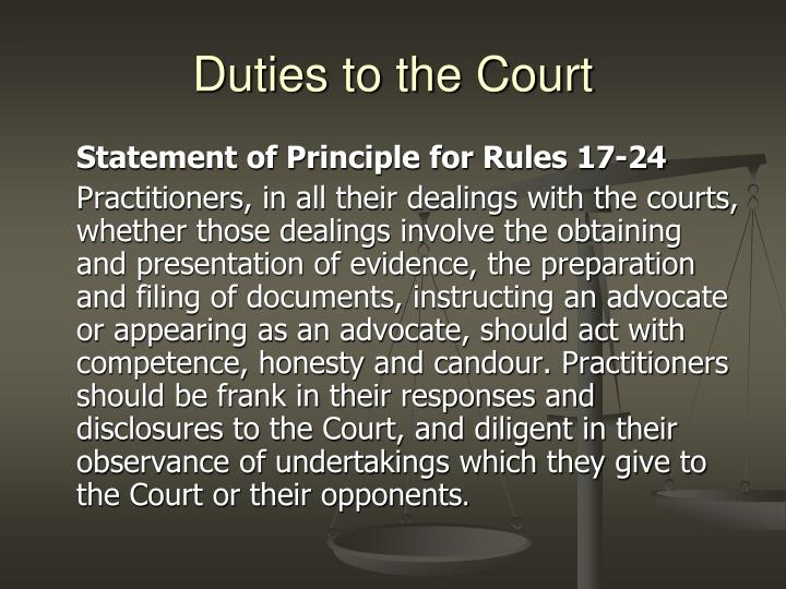 Duties to the Court
