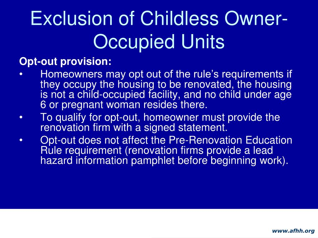 Exclusion of Childless Owner-Occupied Units